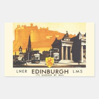 Edinburgh LNER verurteilen Vintages Reise-Plakat Rechteckiger Aufkleber