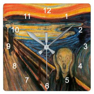 "Edvard Munch , "" The Scream "" Quadratische Wanduhr"