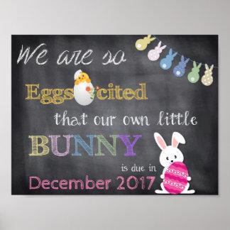 Eggscited Ostern Schwangerschaft decken Mitteilung Poster