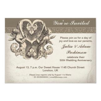 Ehefrau und Ehemann mit Herzjahrestagseinladung 12,7 X 17,8 Cm Einladungskarte