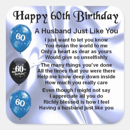Ehemann Gedicht 60 Geburtstag Quadratischer Aufkleber