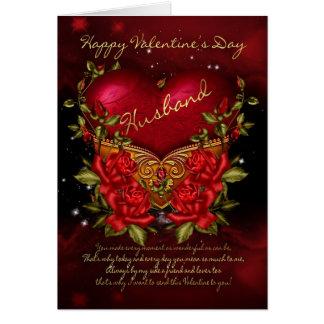 Ehemann, Karte des Valentines Tagesmit Herzen und