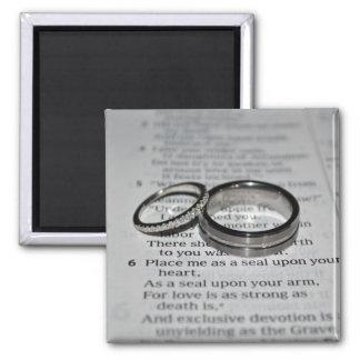 Ehering-Bibel-Vers-Magnet Quadratischer Magnet