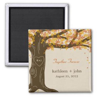 Eichen-Baum-Hochzeit im Herbsts-Magnet Quadratischer Magnet