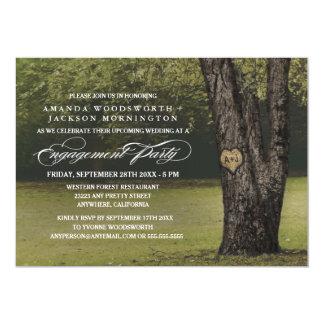 Eichen-Baum-Initialen-Verlobungs-Party Einladungen
