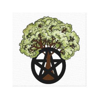 Eichen-Baum und Pentagramm Leinwanddruck