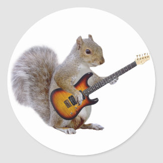 Eichhörnchen das Gitarre spielt Runde Sticker