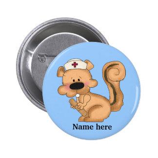 Eichhörnchen-Krankenschwester-Knopf Runder Button 5,7 Cm