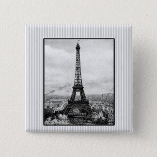 Eiffel-Turm in Paris Striped Vintages Quadratischer Button 5,1 Cm