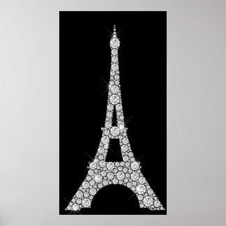 Eiffel-Turm Schwarz-weiße Swarovski Kristalle Poster