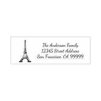 Eiffel-Turm - Selbst, der Adressen-Briefmarke mit Permastempel