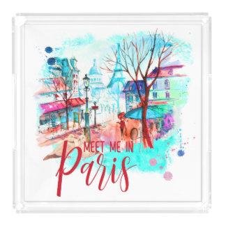 Eiffel-Turm treffen mich im Acryl Tablett