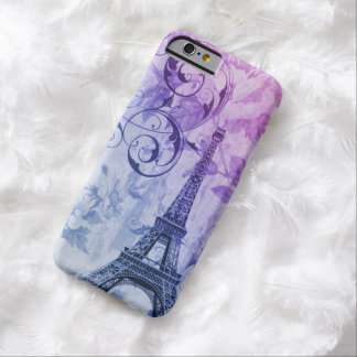 Eiffel-Turms des Shabby Chic lila Vintages Blumen Barely There iPhone 6 Hülle