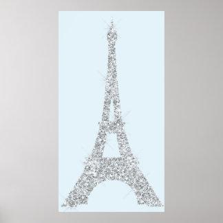 Eiffelturm-blaues Grau Swarovski Kristalle Paris Poster