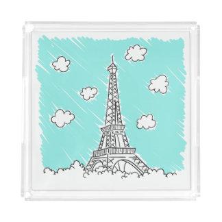 Eiffelturm-Illustrationsbehälter Acryl Tablett