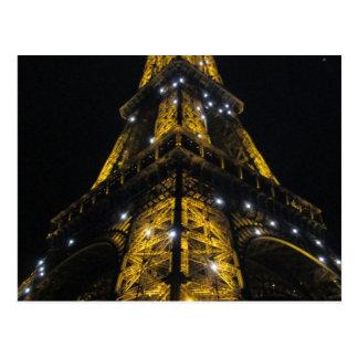 Eiffelturm Nightime gelbe Lichter - Paris, Postkarte