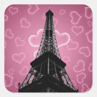 Eiffelturm-quadratischer Aufkleber