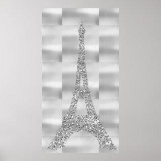 Eiffelturm-silbernes Grau Swarovski Kristalle Poster