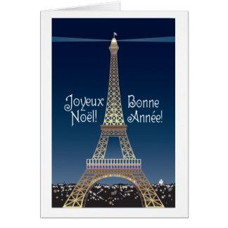 Eiffelturm-Weihnachtsanmerkungs-Karte Karte