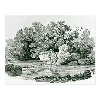 Ein Angler in einem Fluss-Pool, von 'Briten Postkarte