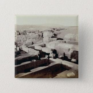 Ein ausgegrabener Tempel am Fuß der Sphinxes, 4. Quadratischer Button 5,1 Cm