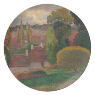 Ein Bauernhof in Bretagne - Paul Gauguin Melaminteller