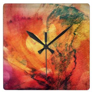 Ein Blatt im hölzernen Herbst abstrakt Uhren