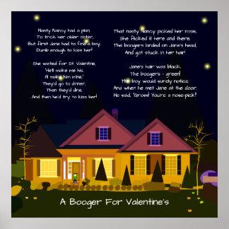 Ein Booger für das Gedicht des Valentinsgrußes Poster