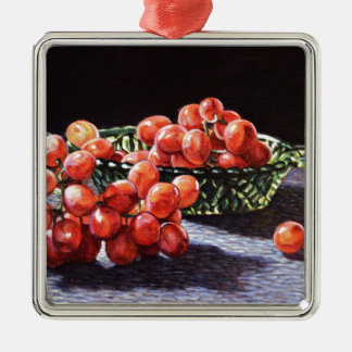 Ein Bündel rote Trauben Quadratisches Silberfarbenes Ornament