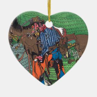 Ein eines netten Cowboys Keramik Herz-Ornament