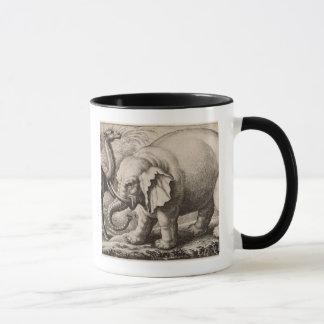 Ein Elefant und ein Kamel, graviert durch Tasse
