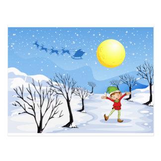 Ein Elf in einem schneebedeckten Platz Postkarte