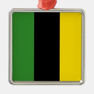 Ein greller Schlag der jamaikanischen Farben Quadratisches Silberfarbenes Ornament