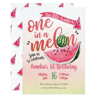 Ein in einem Melone-Wassermelone-ersten Geburtstag Karte