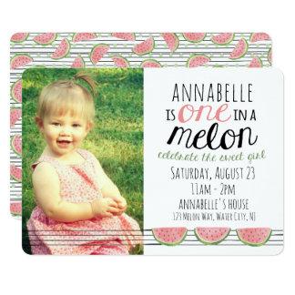 Ein in einer Melone, erste Geburtstags-Einladung Karte