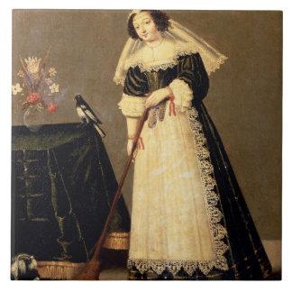Ein Mädchen mit einem Besen Große Quadratische Fliese