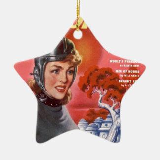Ein Mädchen und ihr Strahln-Gewehr Keramik Stern-Ornament