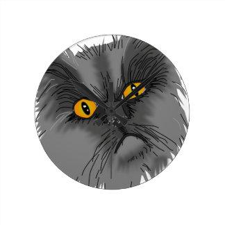 Ein mürrischer Katzenvektor Runde Wanduhr
