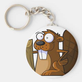 Ein niedlicher Cartoon-Biber-Charakter, der einen  Standard Runder Schlüsselanhänger