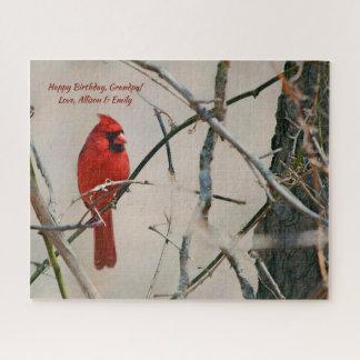 Ein roter Kardinals-Vogel auf einer Niederlassung Puzzle