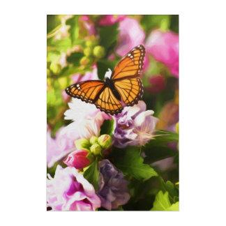 Ein Schmetterling auf den rosa u. lila Blumen Acryl Wandkunst