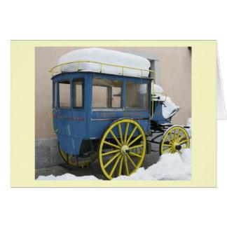 Ein Schnee bedeckte Vintages Auto in Chamonix, Karte
