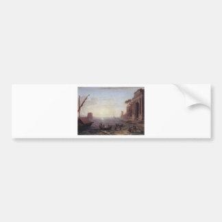 Ein Seehafen am Sonnenaufgang durch Claude Lorrain Autoaufkleber