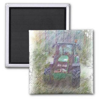 Ein Traktor im Wald Quadratischer Magnet