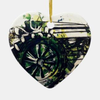 Ein Traktor! Keramik Herz-Ornament