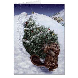 Ein Westküsten-Weihnachten: Biber Grußkarte