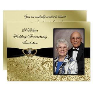 Eine 50. Hochzeits-Jahrestags-Foto-Einladung 12,7 X 17,8 Cm Einladungskarte