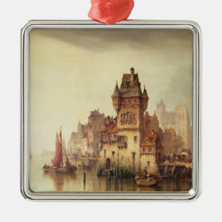 Eine Ansicht über den Fluss, Dordrecht, 1879 (Öl Quadratisches Silberfarbenes Ornament