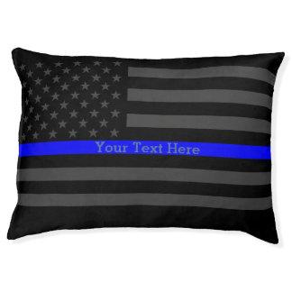 Eine dünne blaue Linie US-Flagge personalisiert Haustierbett