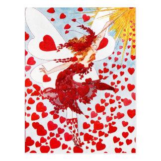 Eine Dusche der roten Herzen von der Fee des Postkarte